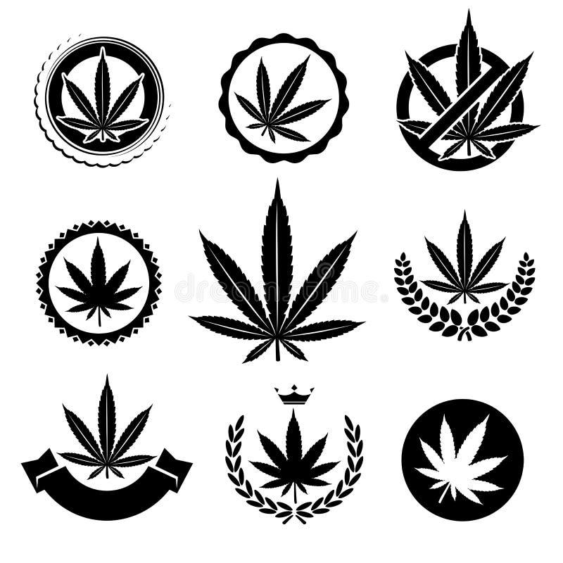 Hanf, Marihuanasatz Vektor lizenzfreie stockfotos