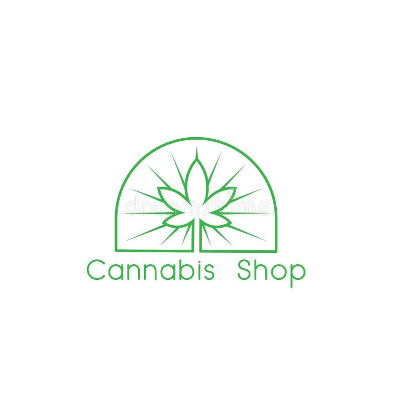 Hanf-Vektorentwürfe der kreativen Marihuanagesundheit medizinische Hanf treibt Linie Art Logo-Entwurfsinspiration - Vektor Blätte lizenzfreie abbildung