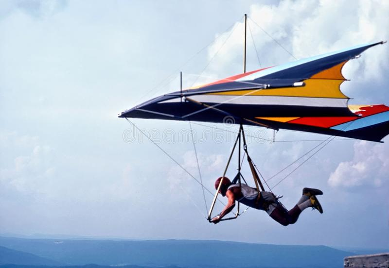 A Hang Glider Launches From Lookout Mountain, Tennessee, USA. A hang glider pilot has just stepped off the launch pad @ Lookout Mountain, Tennessee, USA; This royalty free stock photo
