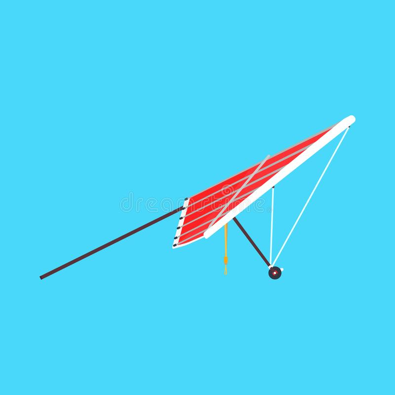 Hang glider sport extreme vector icon side view. Sky adventure hobby para skydiving. Cartoon red plane ascend vector illustration