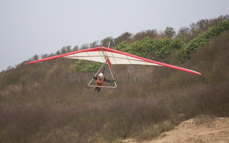 Hang gliding in Weston Super Mare 2019 royalty free stock photography