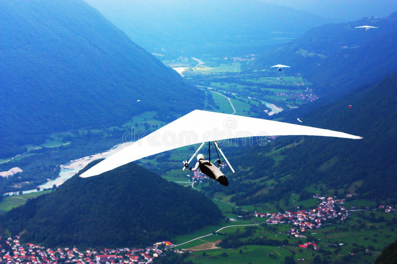 Hang gliding in the Alps stock image