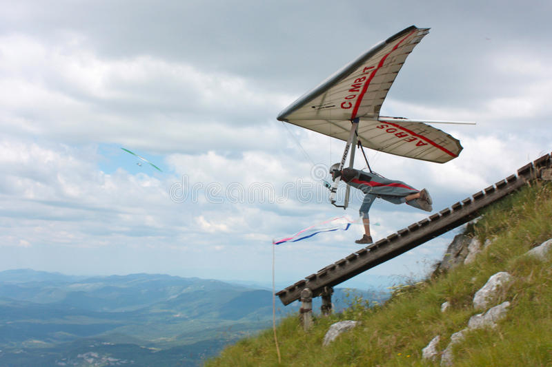 Hang gliding in Croatia royalty free stock image