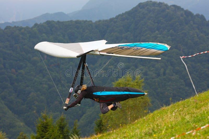 Hang gliding in Monte Cucco stock photography