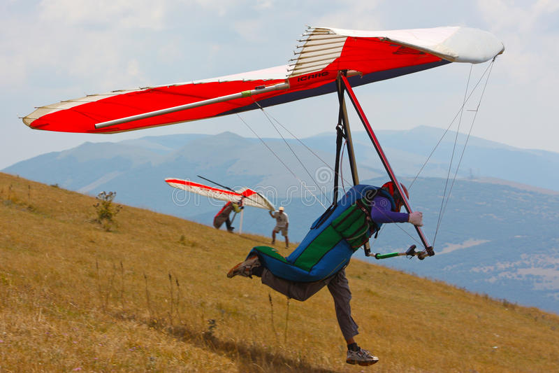 Hang gliding in Monte Cucco royalty free stock images