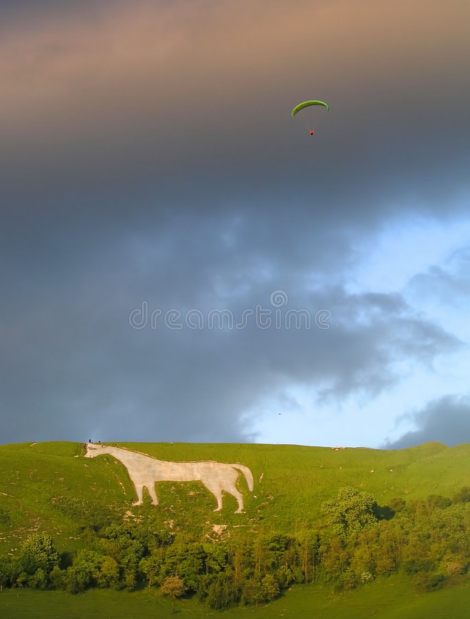 Hang Gliding off Westbury White Horse stock photos