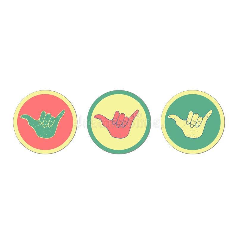 Hang loose hand sign. Symbol of surfing or Brazilian Jiu-Jitsu. Vector illustration stock illustration