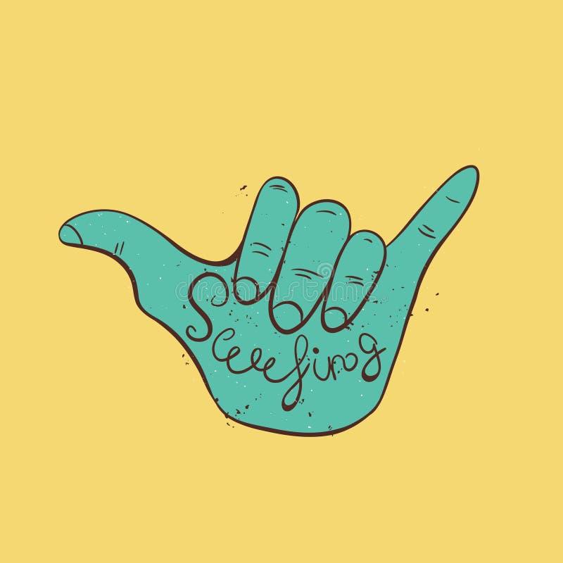Hang loose hand sign. Symbol of surfing or Brazilian Jiu-Jitsu. Vector illustration vector illustration