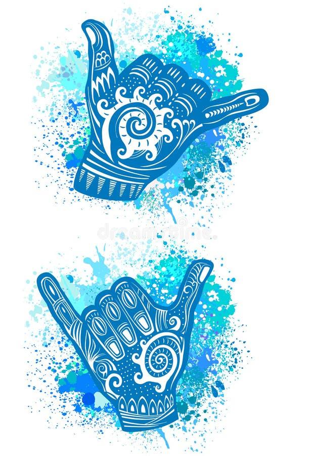 Hang Loose Hand Signal stock illustrationer