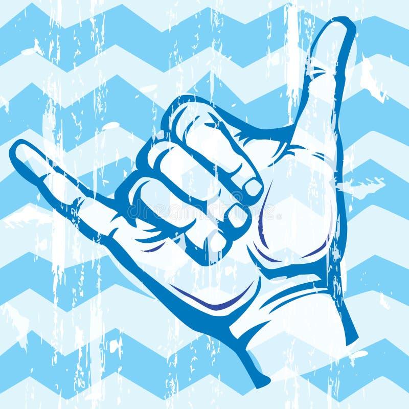 Hang Loose Hand Signal. Surf hand sign stock illustration