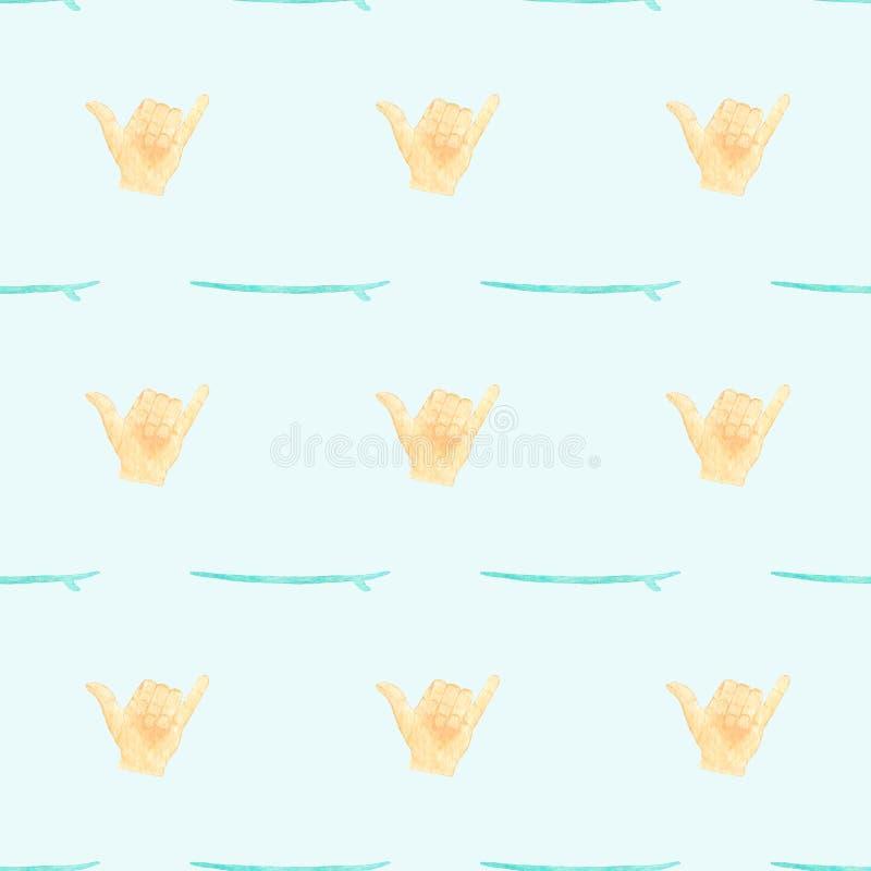 Hang los of shaka Naadloos vectorpatroon met handgebaar op het surfen thema Hand-drawn waterverfachtergrond royalty-vrije illustratie