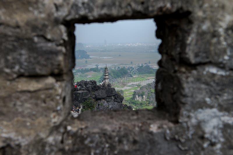Hang Mua Temple Ninh Binh landskap, mummel Noi Vietnam Dec 2018 arkivbild