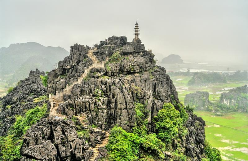 Hang Mua viewpoint at Trang An, Vietnam. Hang Mua viewpoint at Trang An scenic area near Ninh Binh, Vietnam stock photos