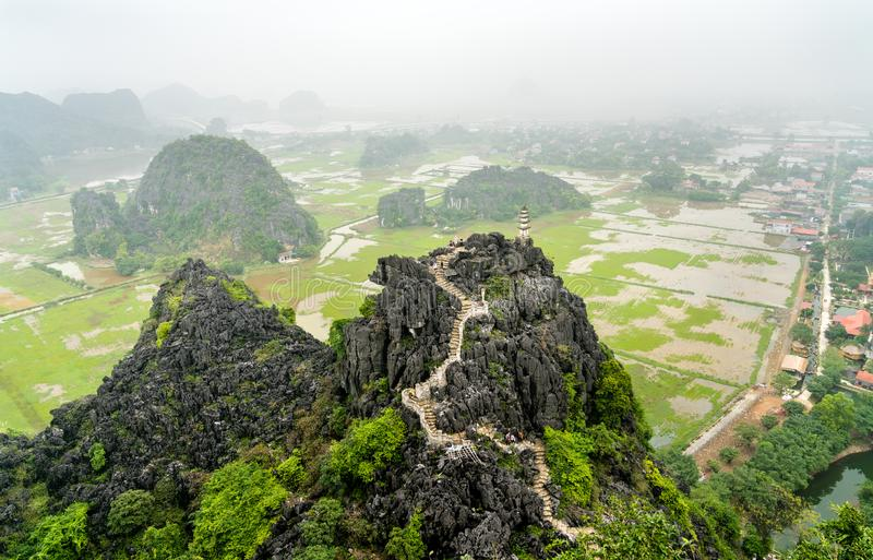 Hang Mua viewpoint at Trang An, Vietnam. Hang Mua viewpoint at Trang An scenic area near Ninh Binh, Vietnam royalty free stock photos