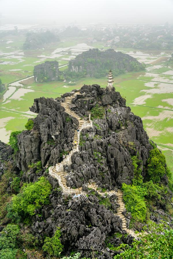 Hang Mua viewpoint at Trang An, Vietnam. Hang Mua viewpoint at Trang An scenic area near Ninh Binh, Vietnam stock image
