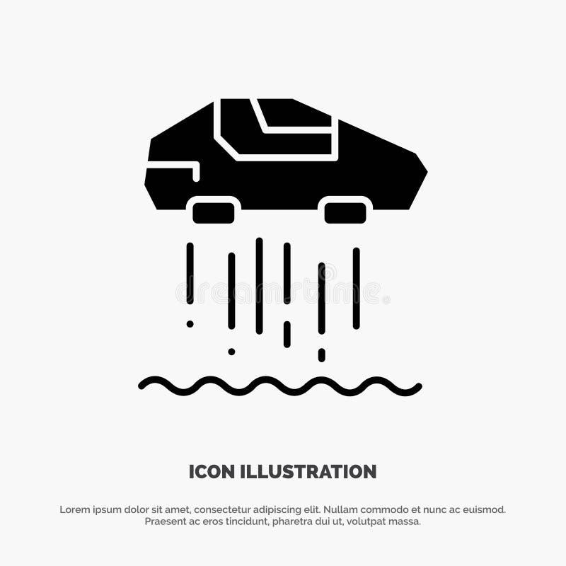 Hang Persoonlijke auto, Auto, het Pictogramvector van Technologie stevige Glyph stock illustratie