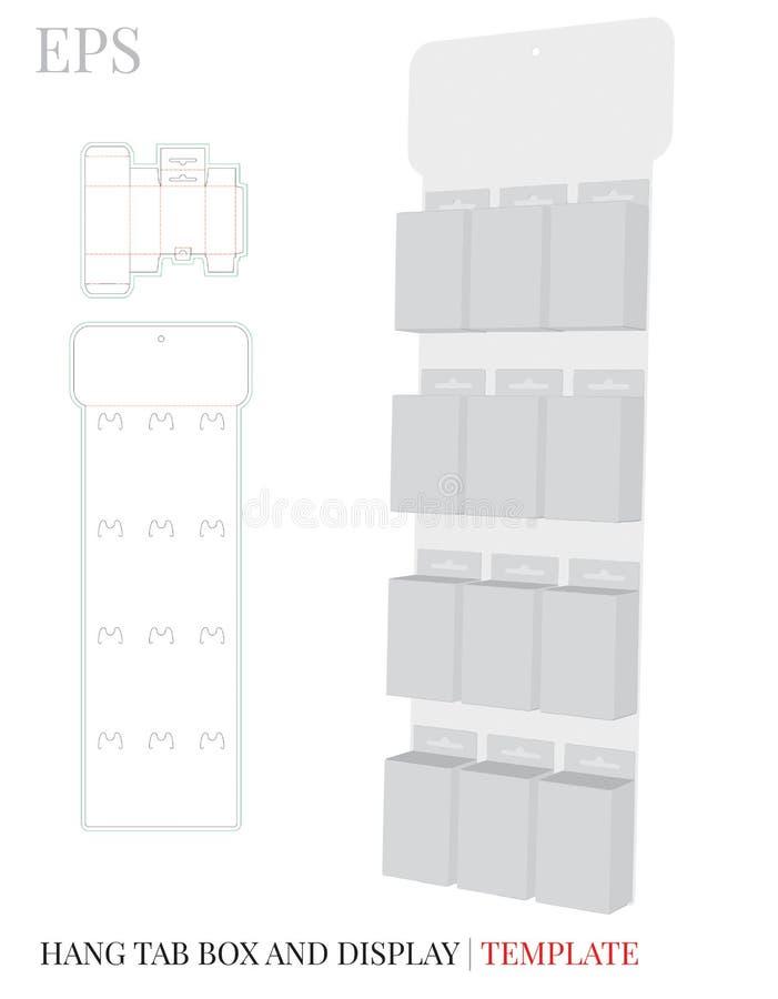Hang Tab Box och skärmlagringsmall Organisatör för pappers- ask Vektor med stansade/laser-snittlinjer stock illustrationer
