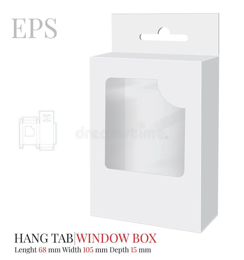 Hang Tab Box Template vektor med stansat/laser klippte lager Pappers- Hang Tab Window Box Vitt klart, mellanrum, isolerade Hang T vektor illustrationer