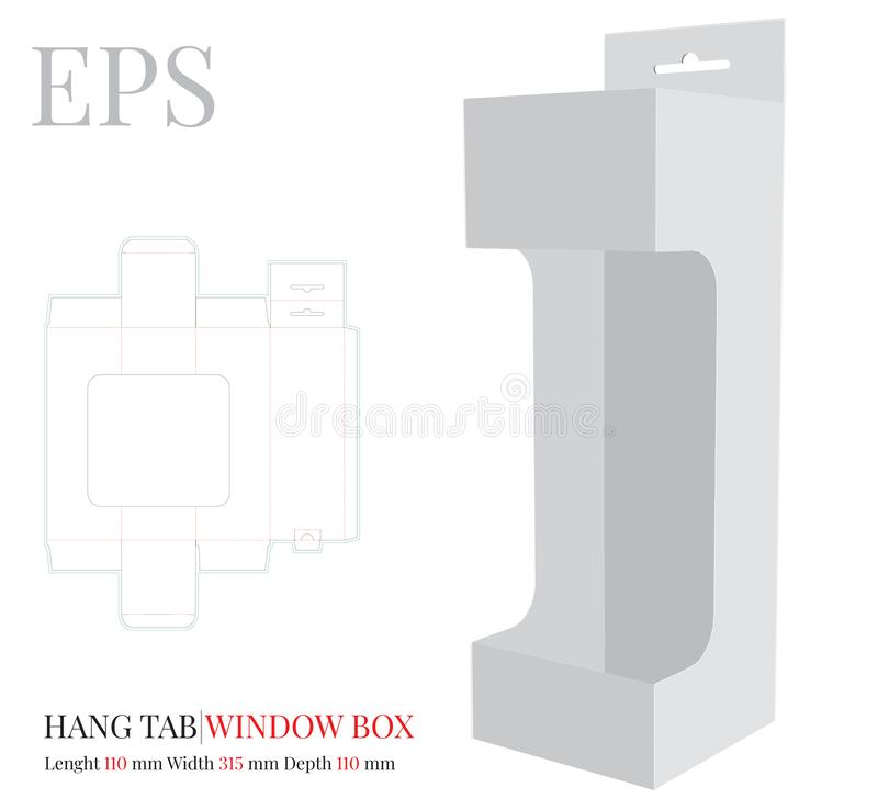 Free Hang Tab Window Box Template, Vector With Die Cut / Laser Cut Lines. White, Clear, Blank, Isolated Hang Tab Mock Up Royalty Free Stock Image - 149611906