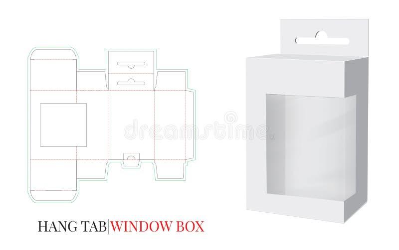 Hang Tab Window Box Template vektor med stansat/laser klippte lager Vitt klart, mellanrum, isolerad Hang Tab åtlöje upp vektor illustrationer