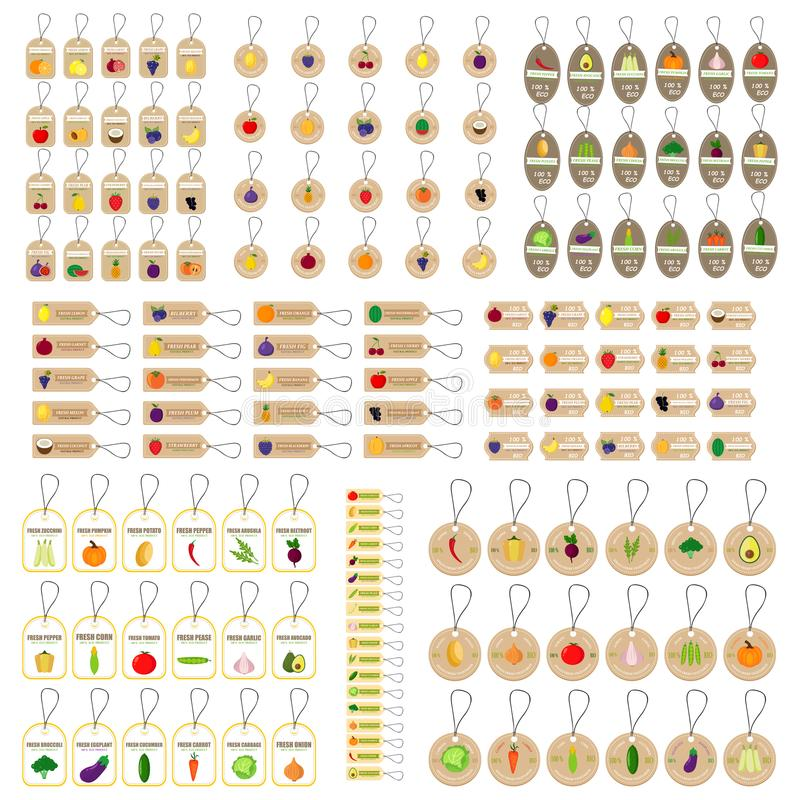 Hang tag fruits and vegetables stock illustration