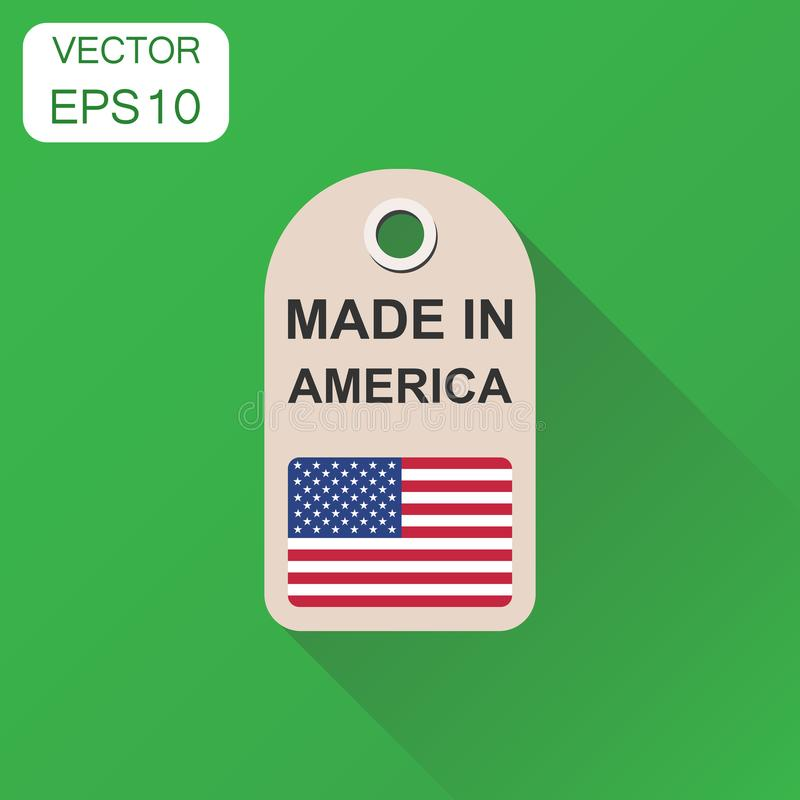 Hang tag made in America with flag icon. Business concept manufactued in America. Vector illustration on green background with lo. Ng shadow stock illustration