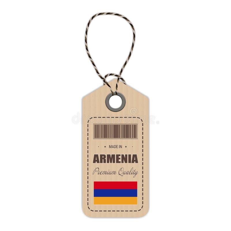 Hang Tag Made In Armenia con l'icona della bandiera isolata su un fondo bianco Illustrazione di vettore illustrazione di stock