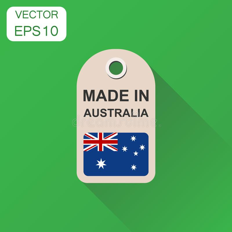 Hang tag made in Australia with flag icon. Business concept manufactued in Australia. Vector illustration on green background wit. H long shadow stock illustration