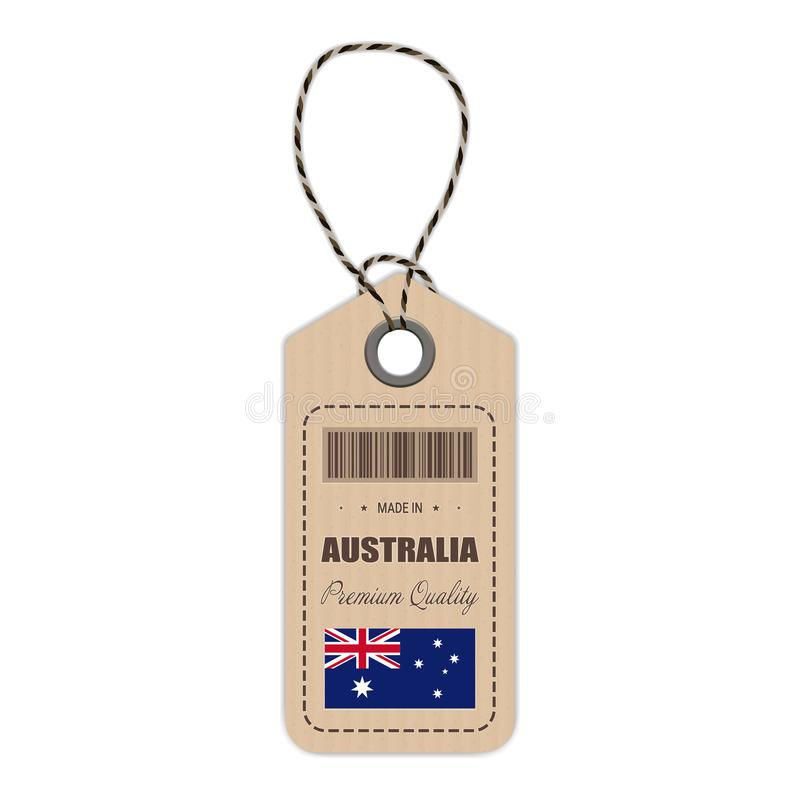 Hang Tag Made In Australia With Flag Icon On A White Background. Vector Illustration. royalty free illustration