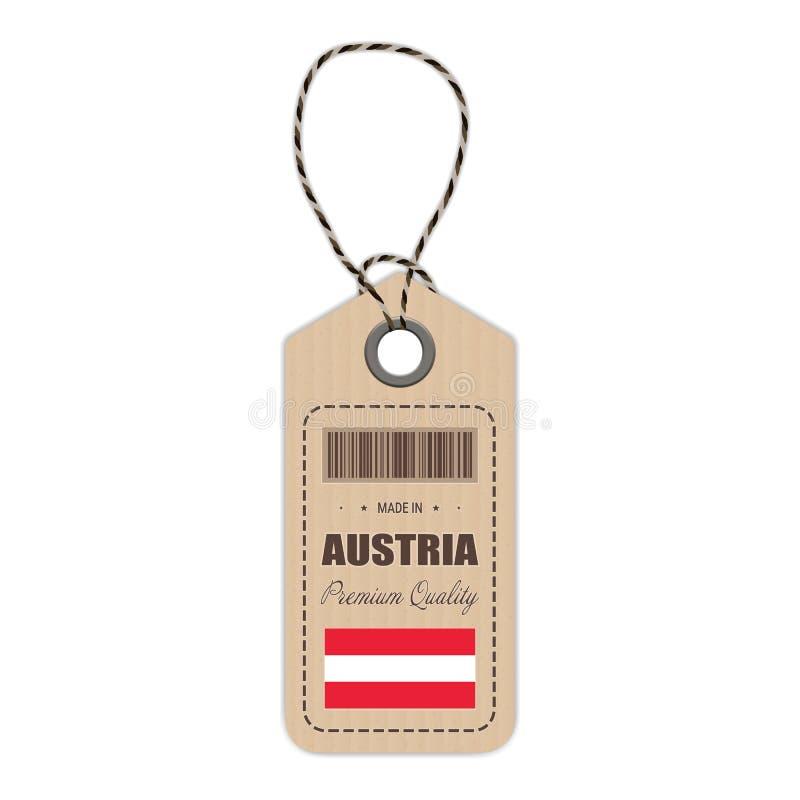 Hang Tag Made In Austria avec l'icône de drapeau d'isolement sur un fond blanc Illustration de vecteur illustration stock