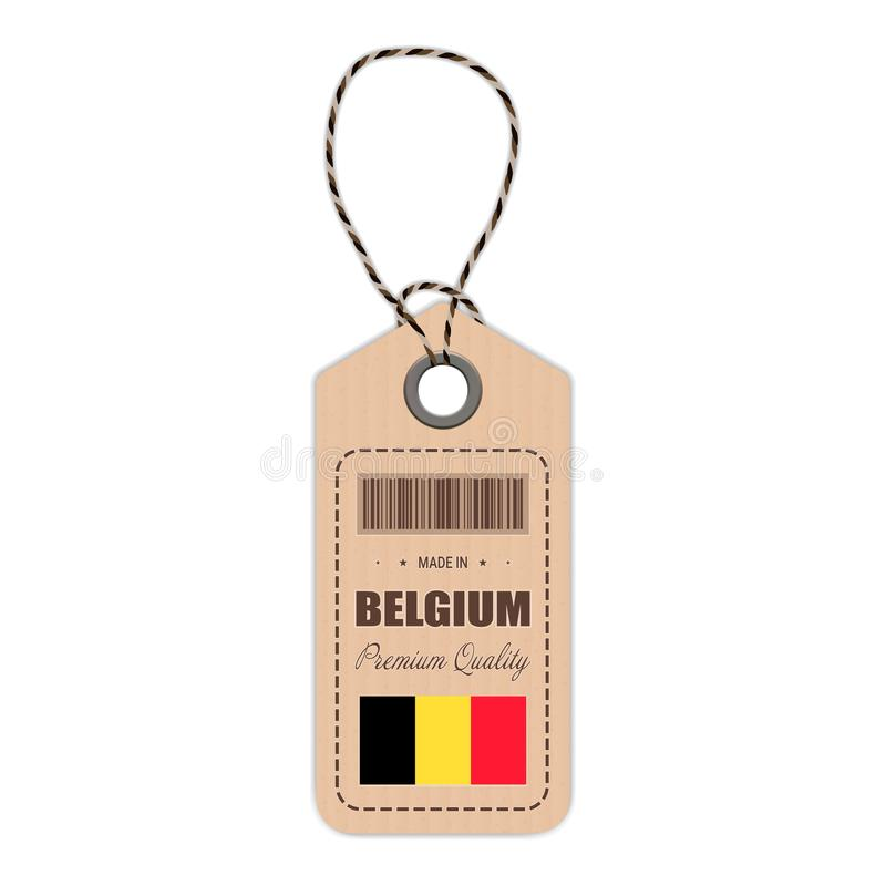 Hang Tag Made In Belgium avec l'icône de drapeau d'isolement sur un fond blanc Illustration de vecteur illustration de vecteur