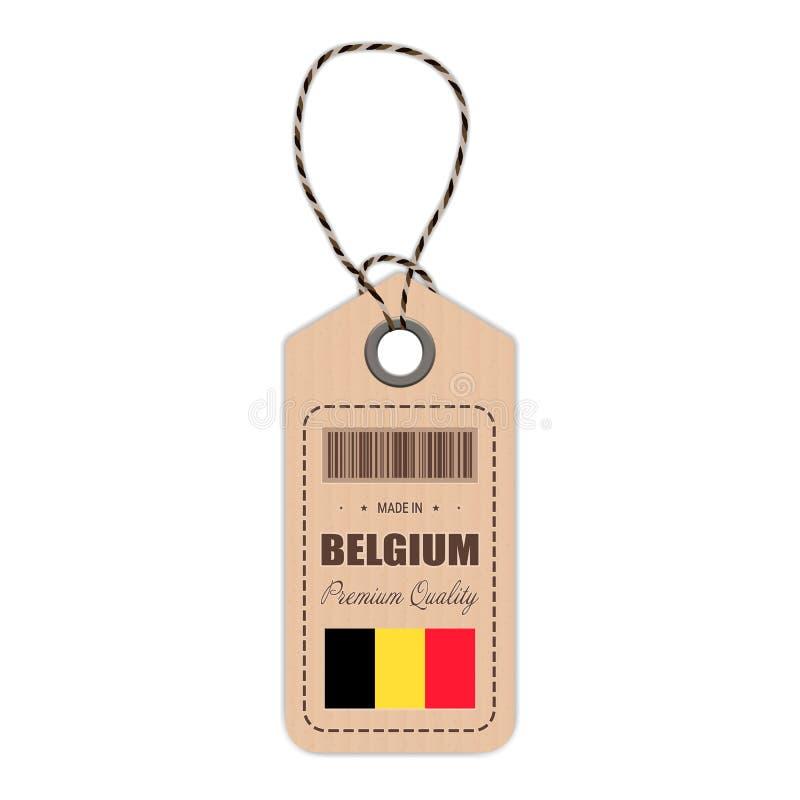 Hang Tag Made In Belgium med flaggasymbolen som isoleras på en vit bakgrund också vektor för coreldrawillustration vektor illustrationer