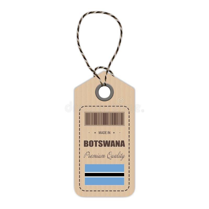 Hang Tag Made In Botswana con el icono de la bandera aislado en un fondo blanco Ilustración del vector ilustración del vector