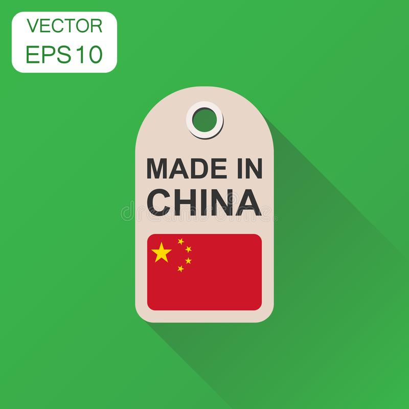 Hang tag made in China with flag icon. Business concept manufactued in China. Vector illustration on green background with long s. Hadow vector illustration