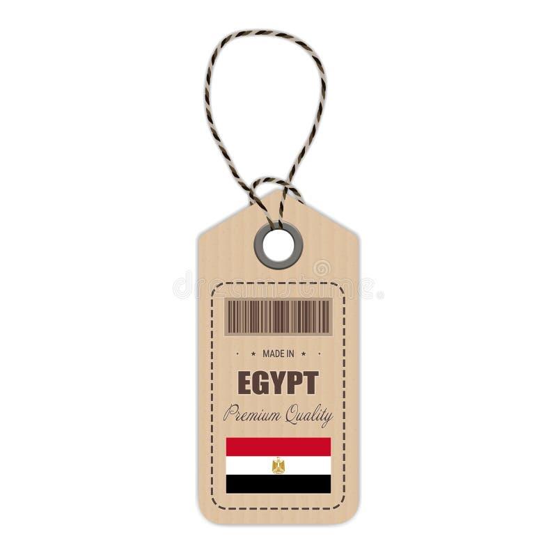 Hang Tag Made In Egypt con l'icona della bandiera isolata su un fondo bianco Illustrazione di vettore illustrazione di stock