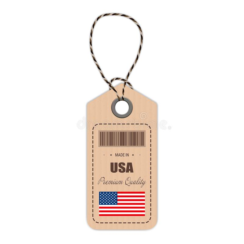 Hang Tag Made In Etats-Unis avec l'icône de drapeau d'isolement sur un fond blanc Illustration de vecteur illustration de vecteur