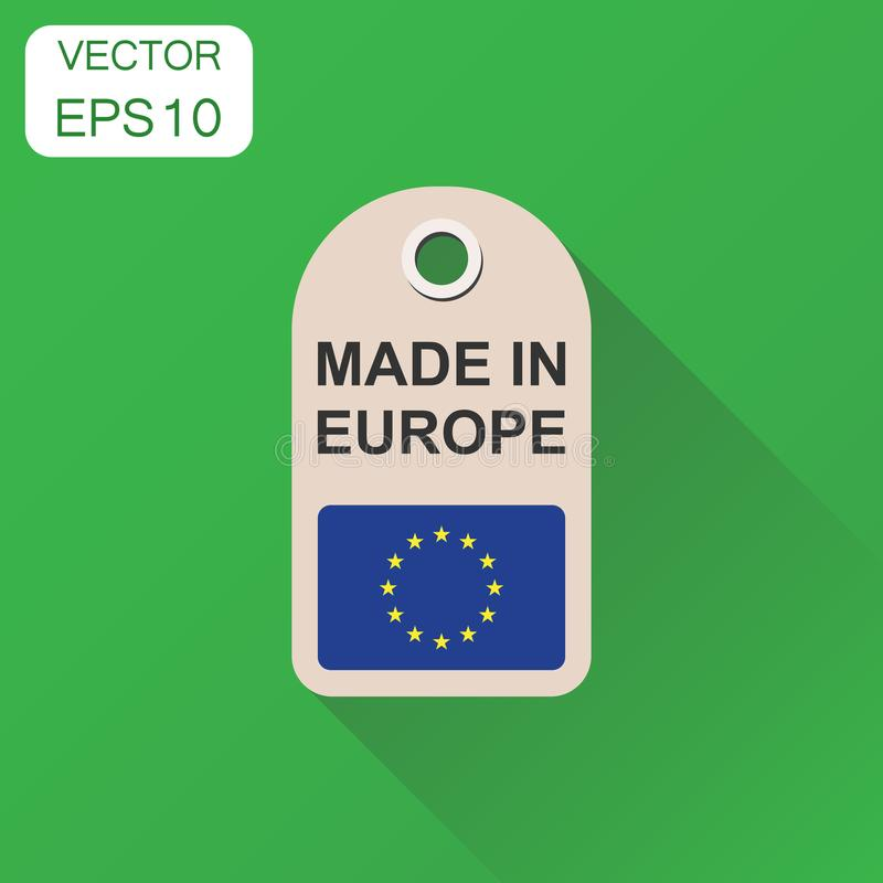 Hang tag made in Europe with flag icon. Business concept manufactued in Europe. Vector illustration on green background with long. Shadow royalty free illustration