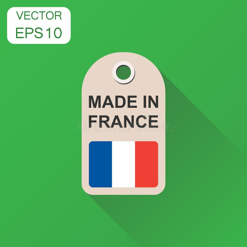 Hang tag made in France with flag icon. Business concept manufactued in France. Vector illustration on green background with long. Shadow stock illustration