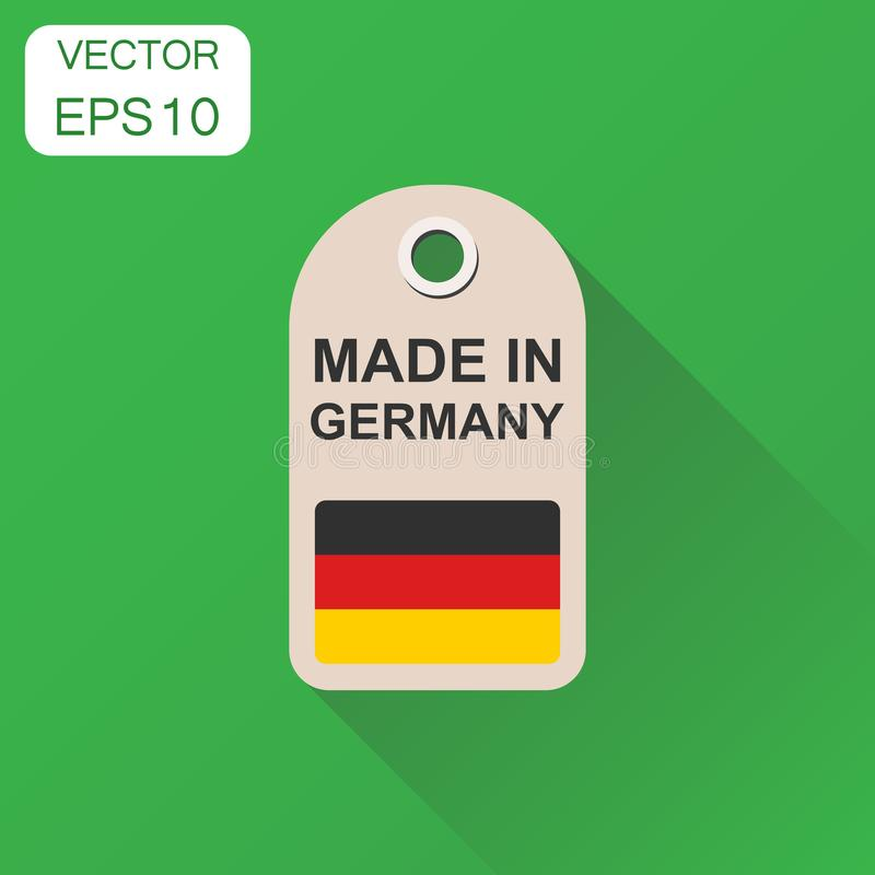 Hang tag made in Germany with flag icon. Business concept manufactued in Germany. Vector illustration on green background with lo. Ng shadow stock illustration