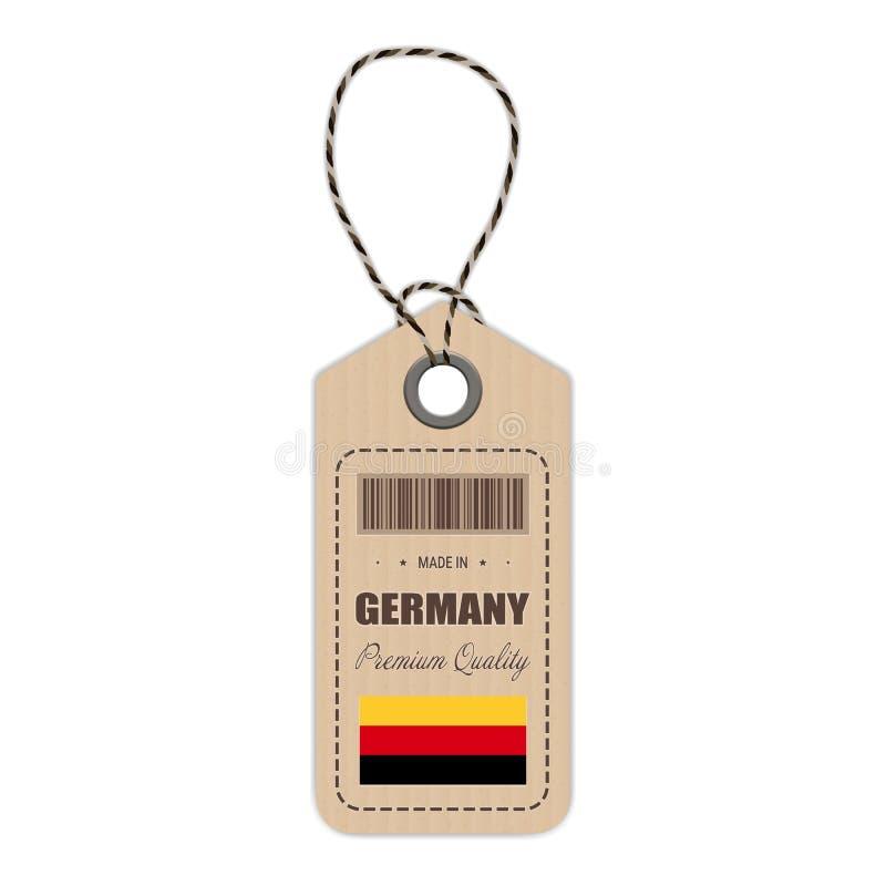 Hang Tag Made In Germany mit der Flaggen-Ikone lokalisiert auf einem weißen Hintergrund Auch im corel abgehobenen Betrag lizenzfreie abbildung