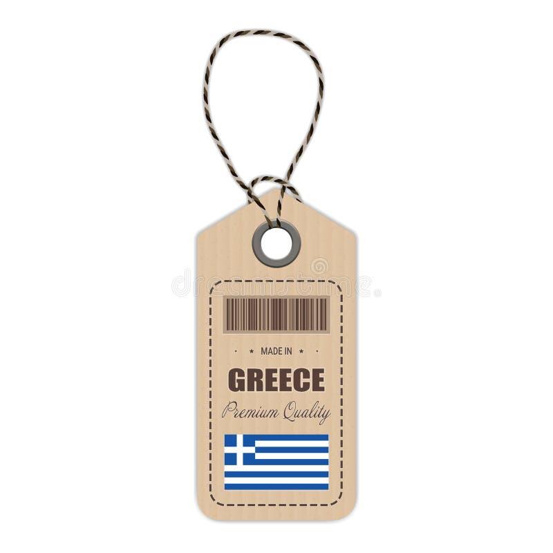 Hang Tag Made In Greece con el icono de la bandera aislado en un fondo blanco Ilustración del vector libre illustration