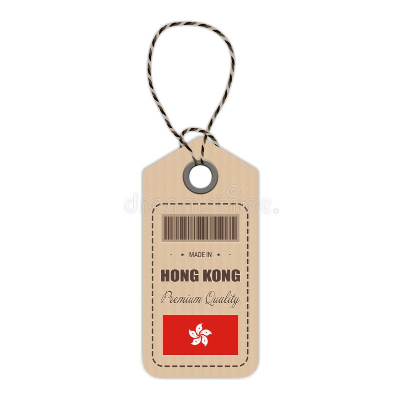 Hang Tag Made In Hong Kong With Flag Icon Isolated On A White Background. Vector Illustration. stock illustration