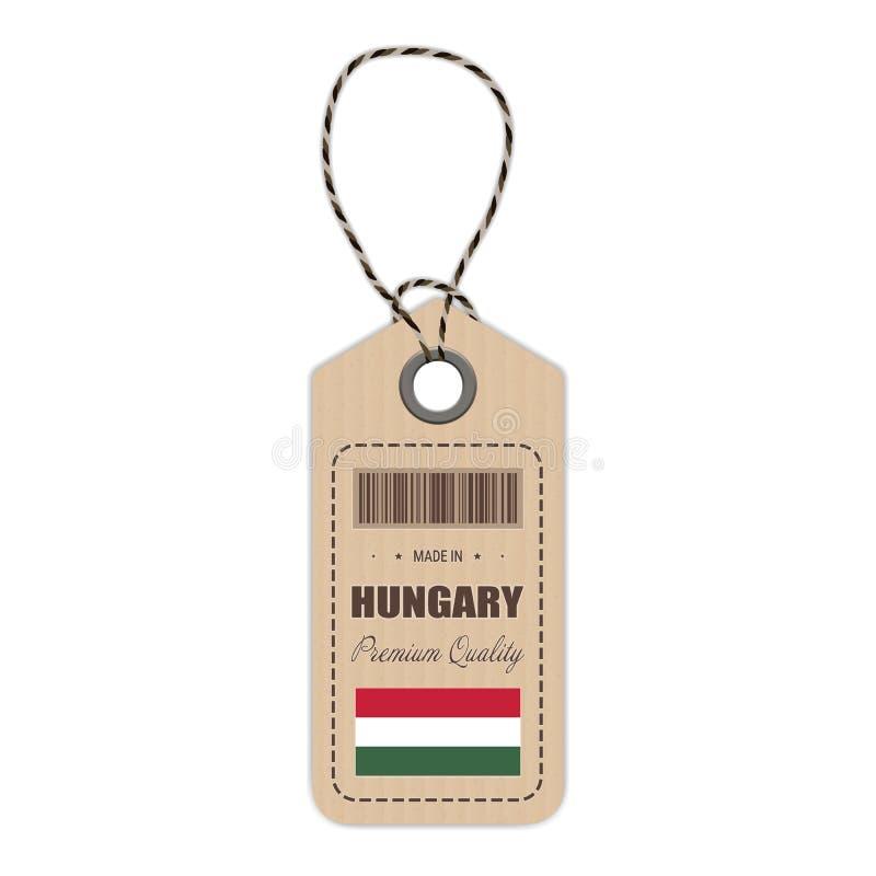 Hang Tag Made In Hungary con el icono de la bandera en un fondo blanco Ilustración del vector ilustración del vector