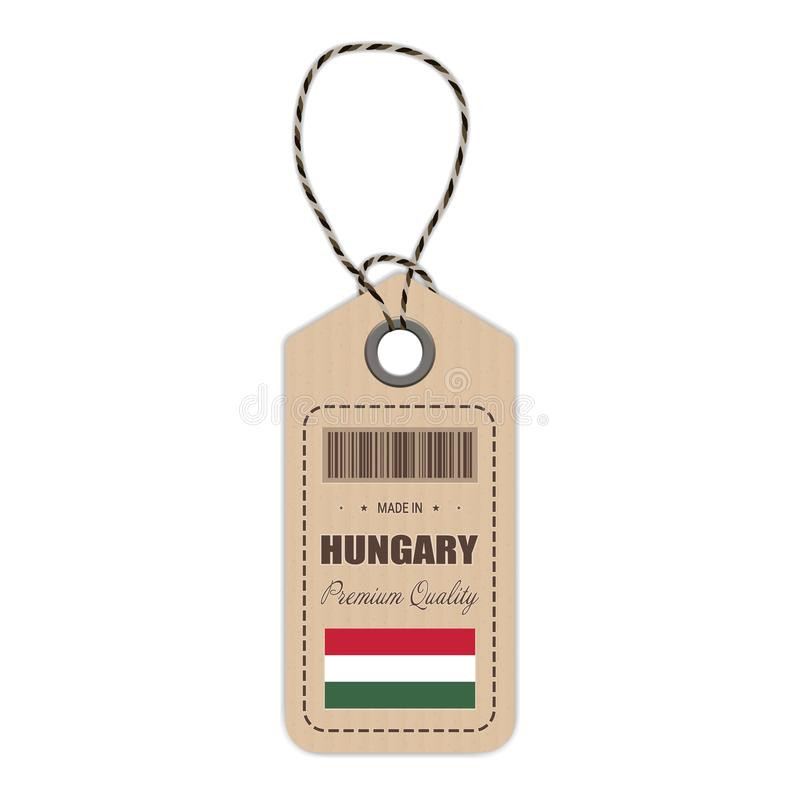 Hang Tag Made In Hungary With Flag Icon On A White Background. Vector Illustration. vector illustration