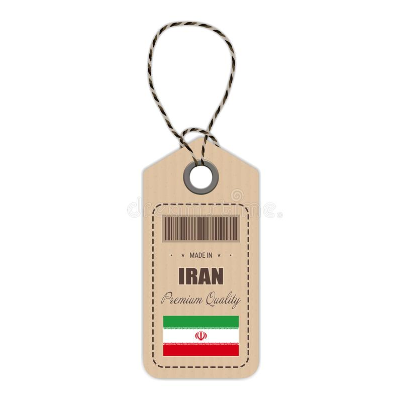 Hang Tag Made In Iran With Flag Icon Isolated On A White Background. Vector Illustration. stock illustration