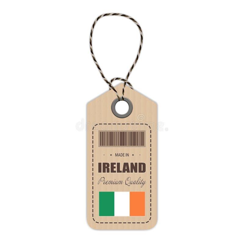Hang Tag Made In Ireland avec l'icône de drapeau d'isolement sur un fond blanc Illustration de vecteur illustration stock