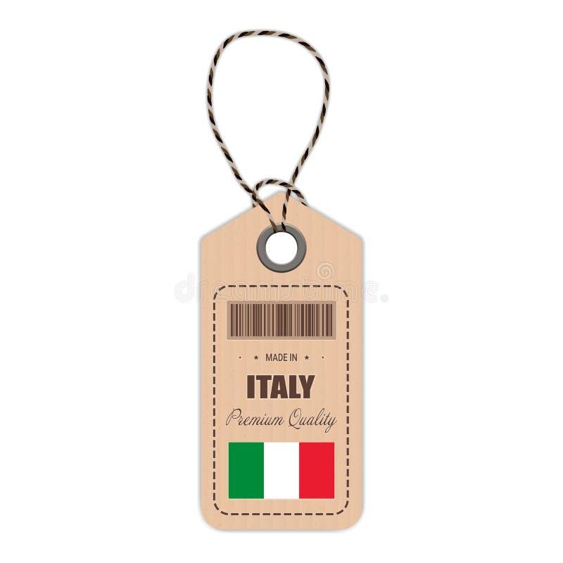 Hang Tag Made In Italy con el icono de la bandera aislado en un fondo blanco Ilustración del vector ilustración del vector
