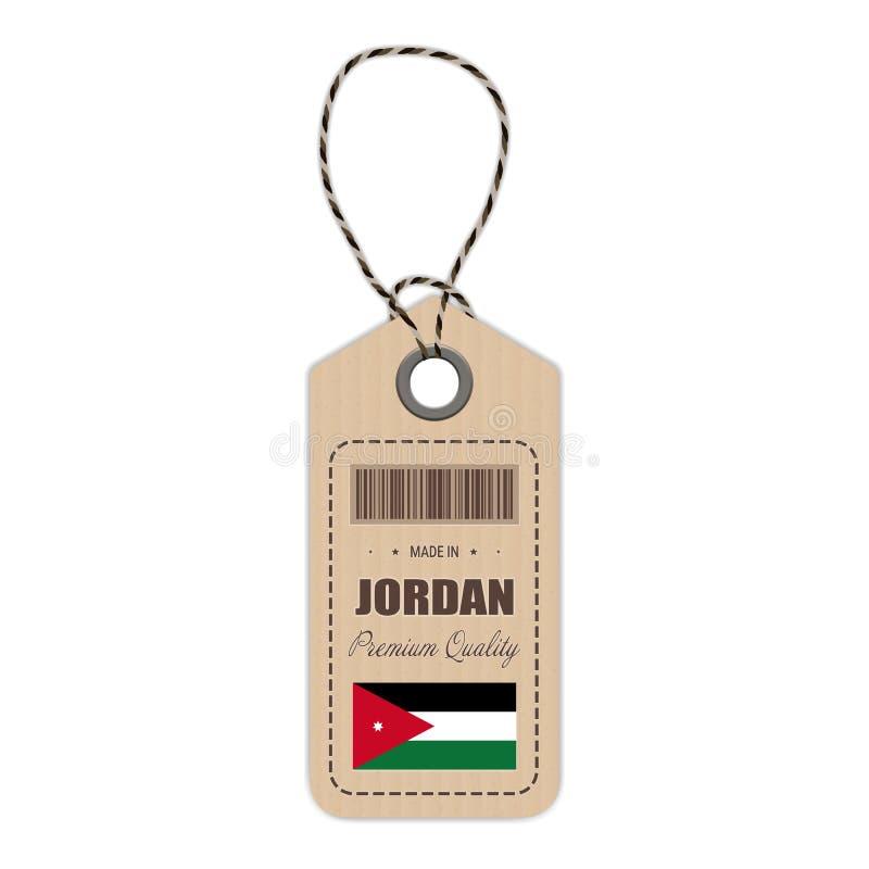 Hang Tag Made In Jordan con el icono de la bandera aislado en un fondo blanco Ilustración del vector stock de ilustración
