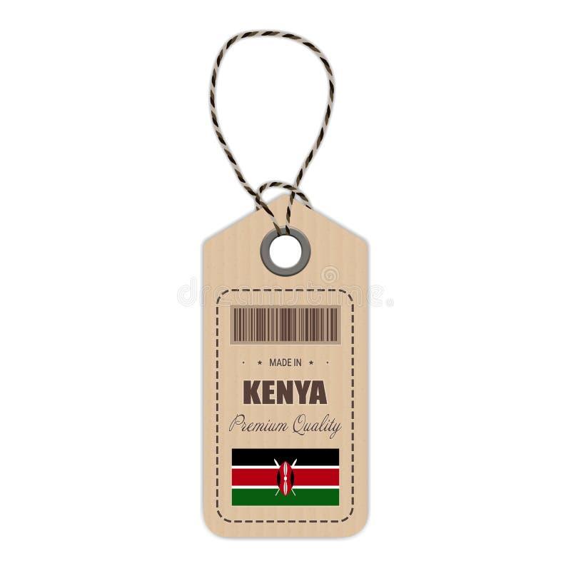 Hang Tag Made In Kenya avec l'icône de drapeau d'isolement sur un fond blanc Illustration de vecteur illustration libre de droits