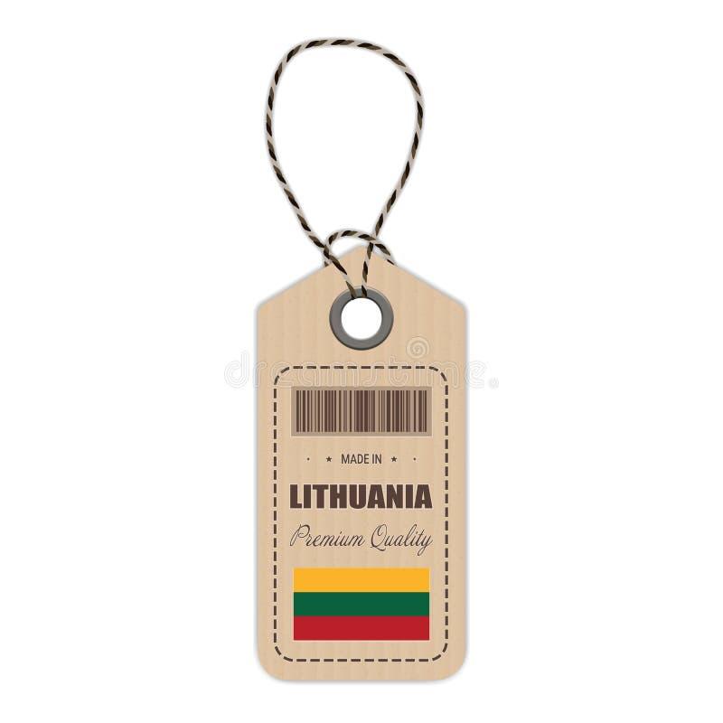 Hang Tag Made In Lithuania med flaggasymbolen som isoleras på en vit bakgrund också vektor för coreldrawillustration vektor illustrationer